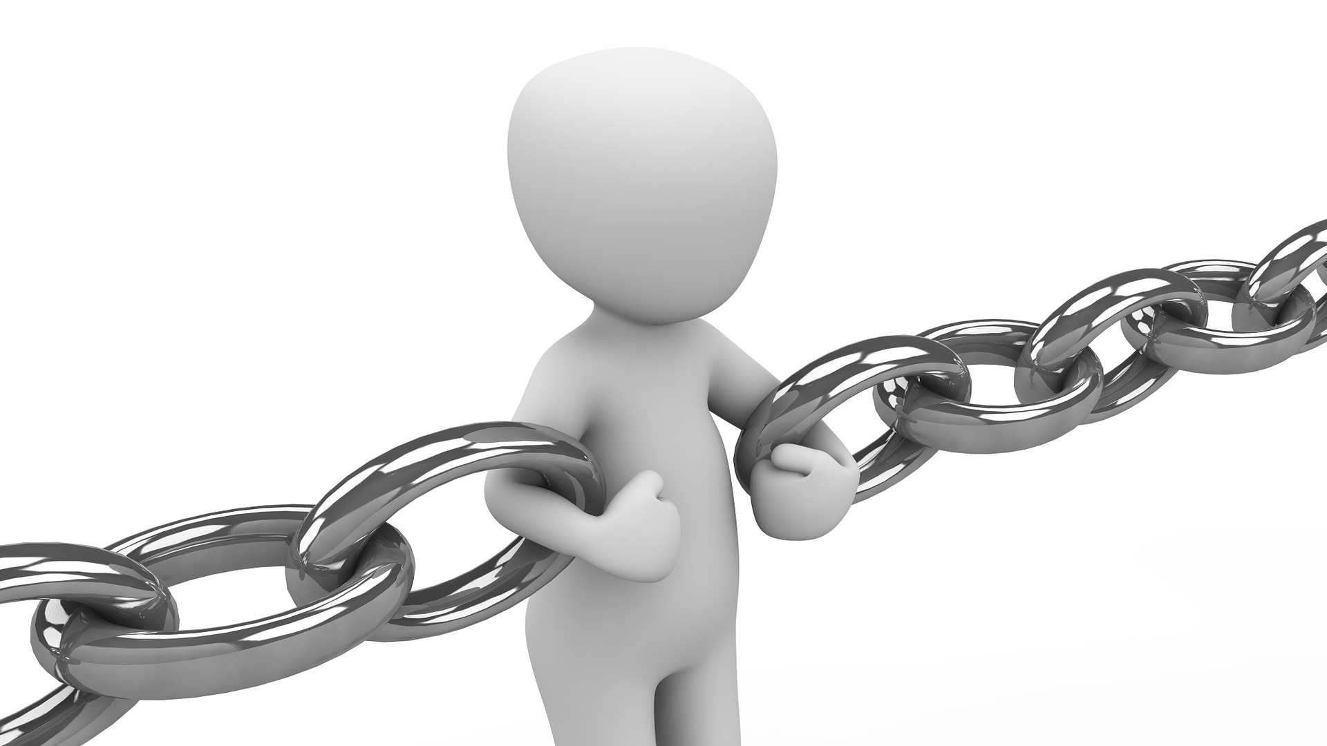 Model person holding two pieces of chain together