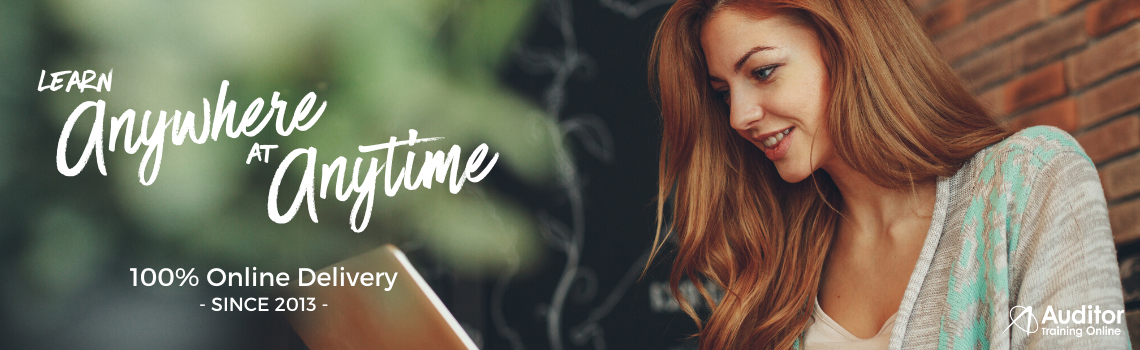 Auditor Training Online banner showing lady working on laptop